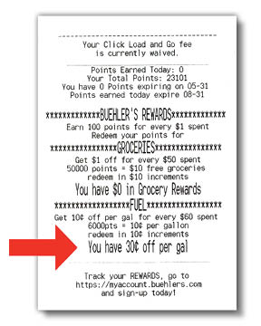 Fuel Rewards Receipt Example