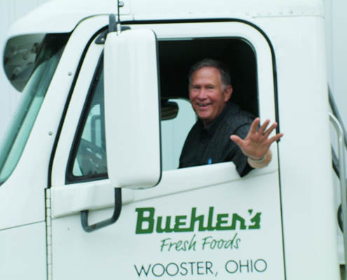 Dave Graf drives Buehler's semi to Mt. Hope Produce Auction