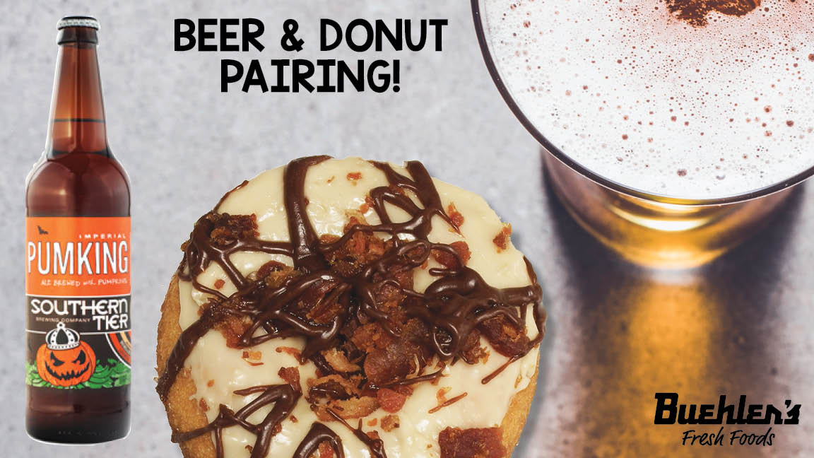 Beer and donut pairing - cake donut with bacon topping