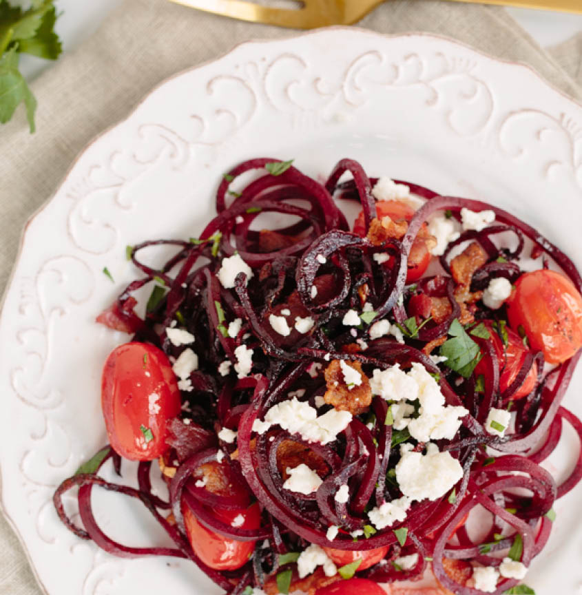 Spiralized Beet Salad with feta and bacon and tomatoes