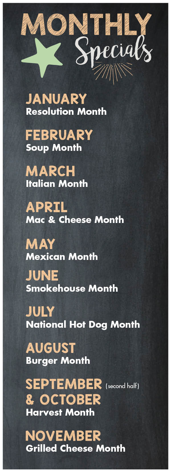 Restaurants Specials Schedule