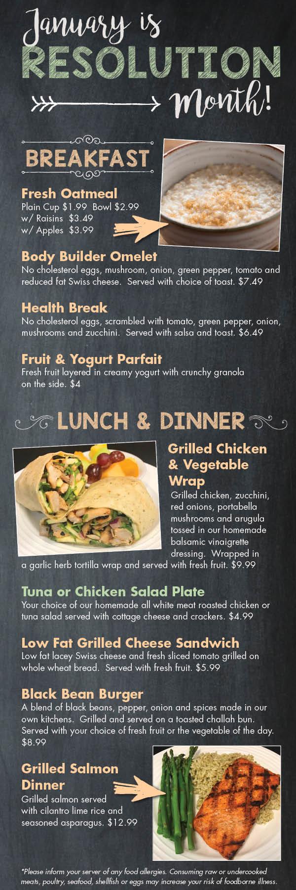 January Restaurant Specials