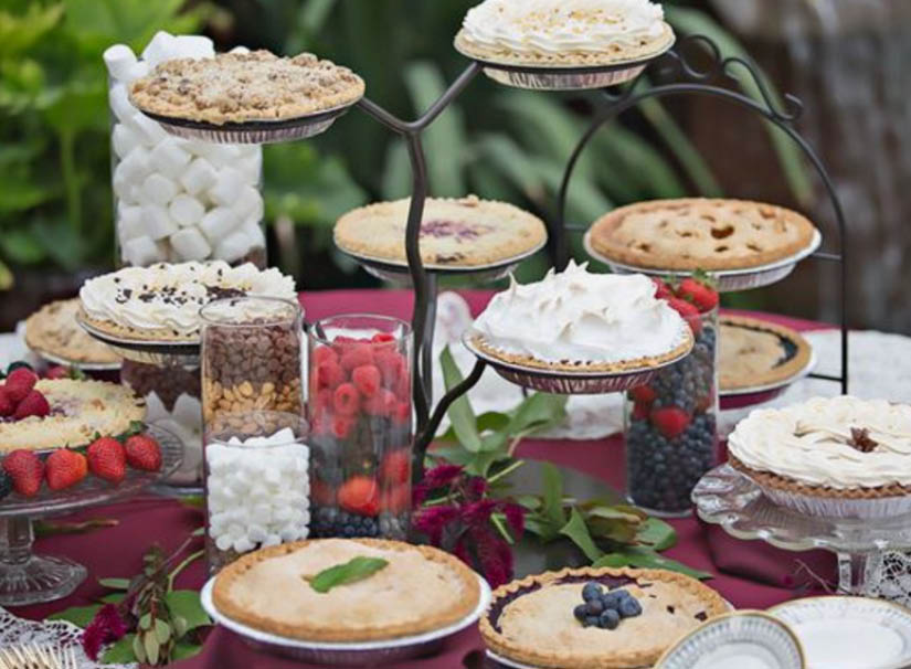 Catering pie display for special event